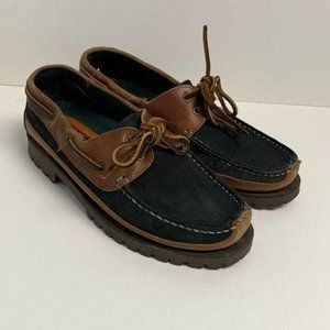 Woolrich Navy & Brown Leather Boat Shoe EUC